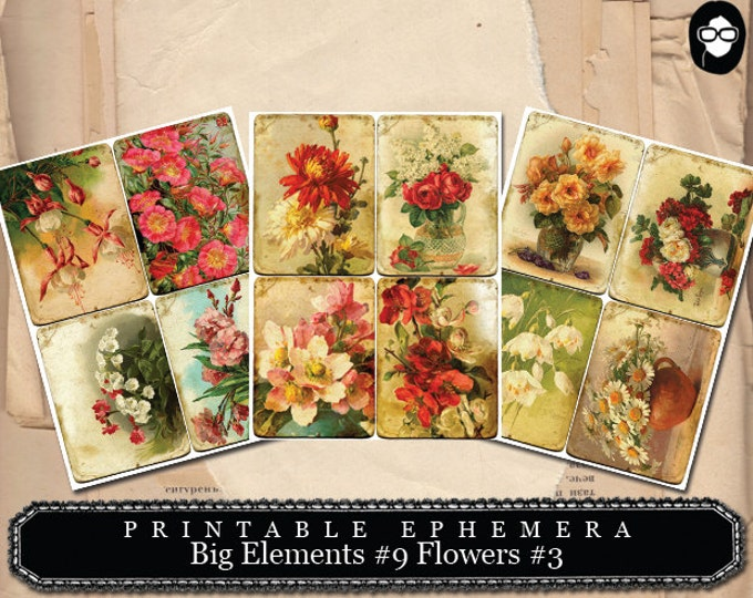 Bouquet Clipart - Big Elements # 9 Flowers # 3 - 3 Page Instant Download - digital journal kits, roses clipart floral, paper ephemera kit