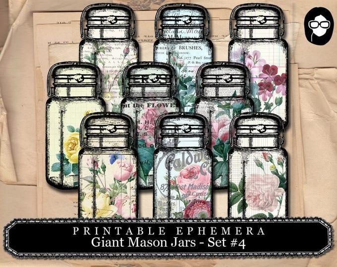Mason Jar - Giant Mason Jars # 4 - 3 Page Instant Download - mason jar printable, vintage mason jar, digital collage, blank journal cards