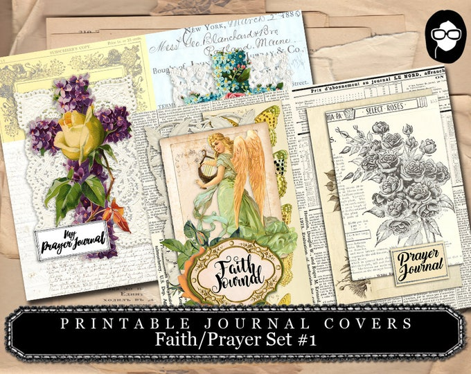 Illustrated Faith - Journal Cover Pages Prayer/Faith Set 1 - 2 Page Instant Download - scripture art, bible journaling kit, printable verses