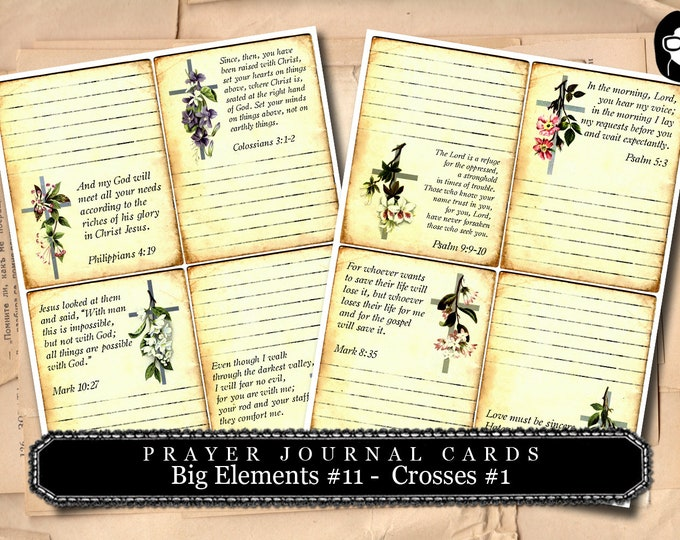 Ephemera Kit - Big Elements # 11 - Crosses #1 - 2 Page Instant Download -  journaling kit, art journal card, digital journal card