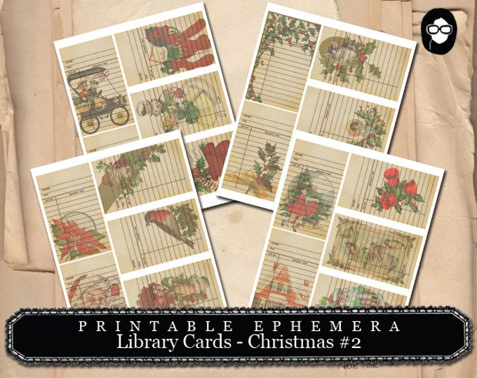 Christmas Clipart - Library Cards 2 - Christmas Set # 2 - 4 Page Instant Download, ephemera pack, gift tag template, journaling kit