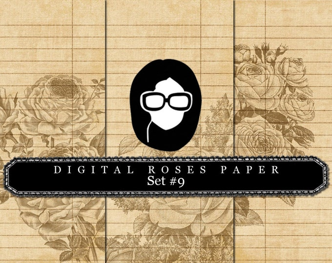 Floral Digital Paper - Set #9 - 3 Pg Instant Downloads - rose digital paper, digital roses paper, digital paper pack, best digital paper