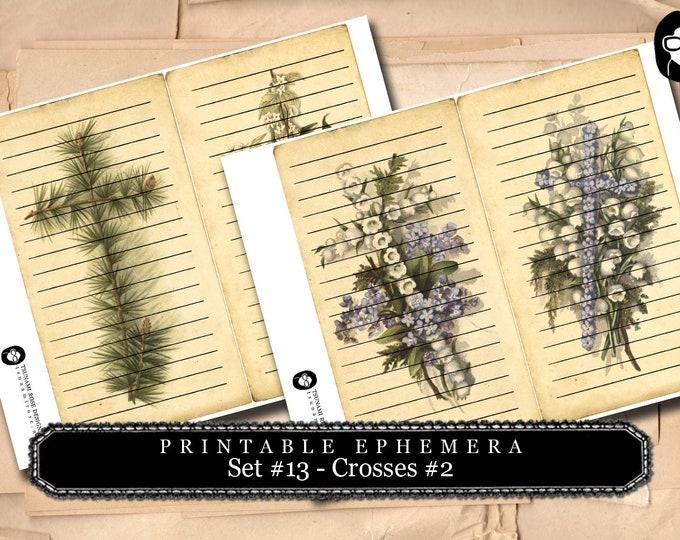 Prayer Journaling - Big Elements #13 - Vintage Crosses #2 - 2 Page Instant Download - scripture art, bible journaling kit, printable verses