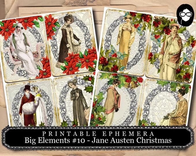 Jane Austen Christmas - Big Elements # 10 Christmas Cards - 2 Page Instant Download - christmas clip art, ephemera kit, digital journal card