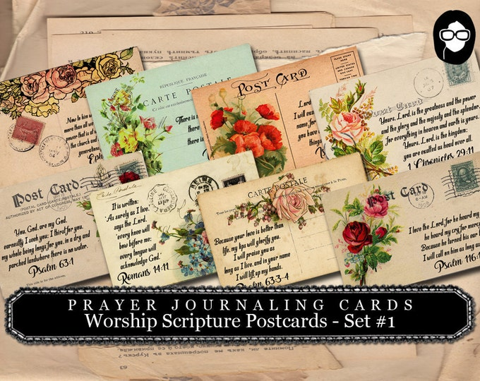 Illustrated Faith - PostCards Set #1- 2 Pg Instant Download - scripture art, bible journaling kit, printable verses, worship prayer journal