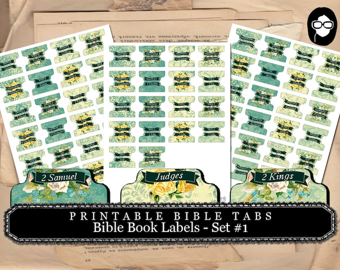 Printable Page Tabs - 66 Bible Book Labels -  Set #1 - 3 Pg Instant Download - inspire bible tabs, illustrated faith, scripture art