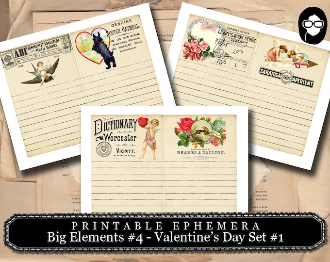 Valentine's Day Printable - Big Elements #4 - 3 Pg Instant Download - digital journal card, journal cards, digital download for junk journal