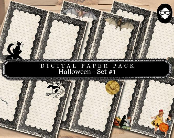 Halloween Printable - Halloween Digital Paper Pack # 1 - clipart halloween, halloween cliparts, writing journal, junk journal kit, printable