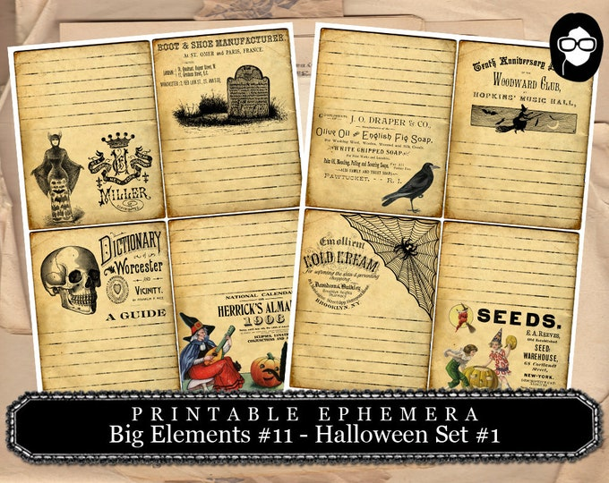 Journaling Cards -  Big Elements #11 Set #1 - 2 Page Instant Download -  spooky digital paper, journaling cards, clip art halloween