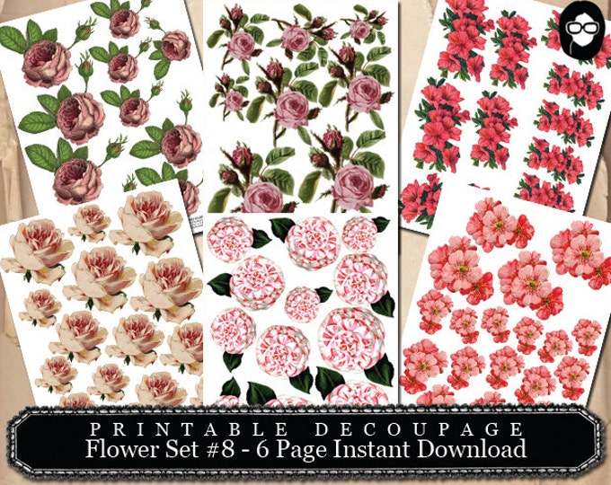Roses Clipart Floral - Decoupage Flowers Set #8 - 6 Page Instant Download - pink rose clipart, bouquet clipart, roses flower clipart