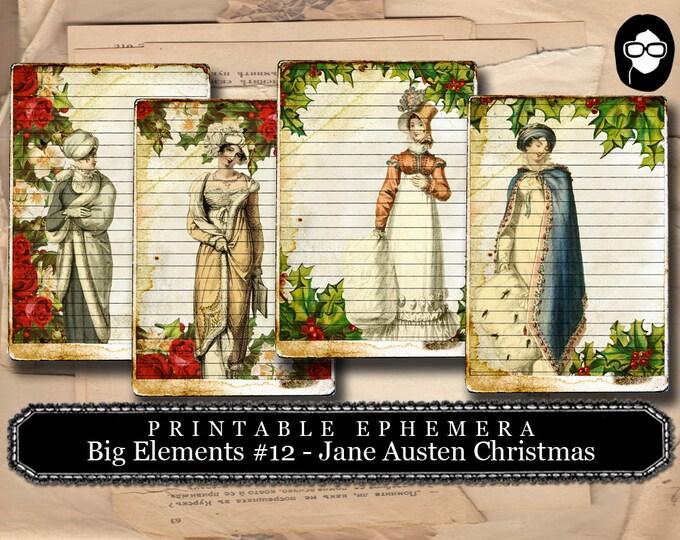 Jane Austen Christmas - Big Elements # 12 - 2 Page Instant Download - christmas clip art, ephemera kit, journal card, pride and prejudice