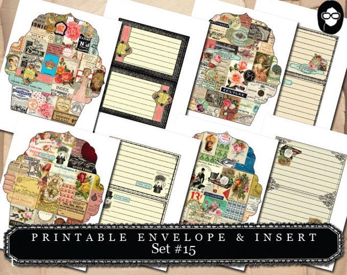 Envelope Templates & Insert - Set #15 - 8 Pg Instant download - envelope template, printable envelope, clipart floral, digital roses floral
