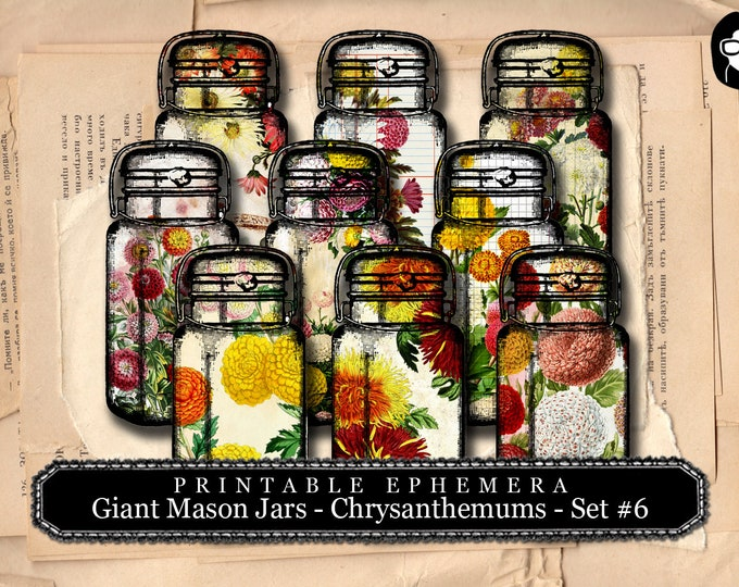 Giant Mason Jars Chrystanthemum Set # 6 - 3 Page Instant Download - printable, vintage mason jar, digital collage, blank journal cards