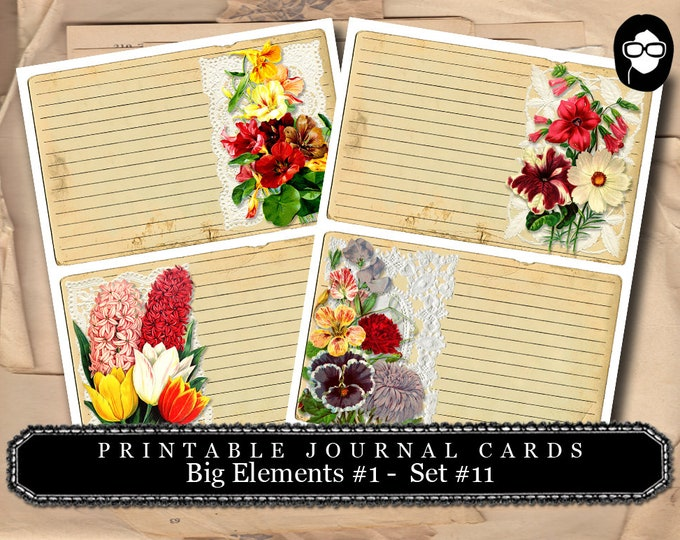 Blank Journal Cards - Big Elements #1 Set #11 - 2 Page Instant Download - digital journal kits, roses clipart floral, paper ephemera kit