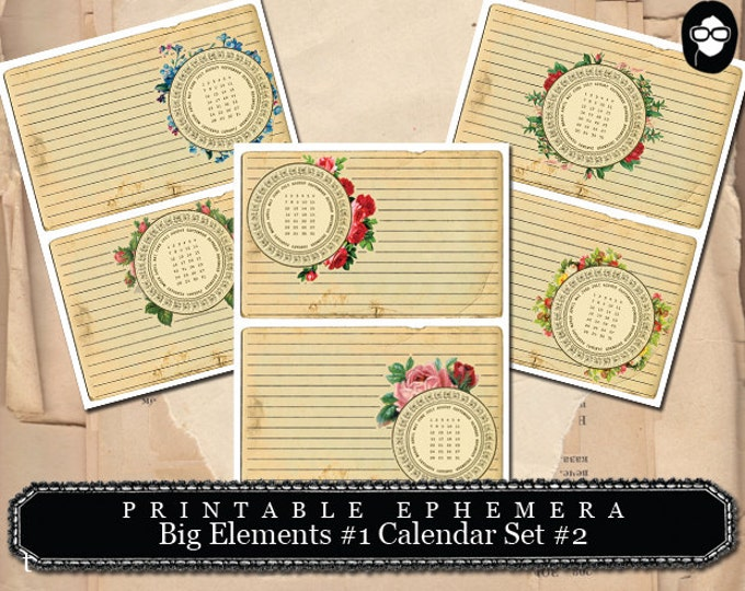 Printable Calendar - Big Elements #1 Calendar Set #2 - 3 Page Instant Download - ephemera paper pack, journaling kit, art journal card
