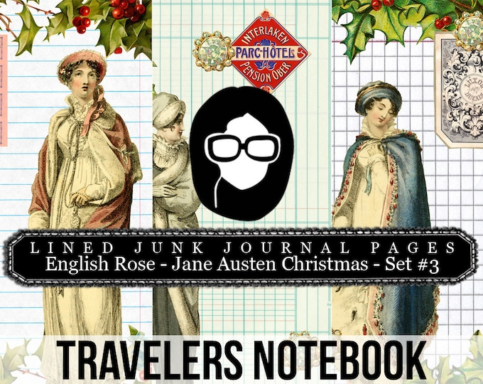 Jane Austen Christmas Travellers Notebook Set #3 LINED- Journal Pages - 3 Printable Pages- travelers notebook, fauxdori insert, midori