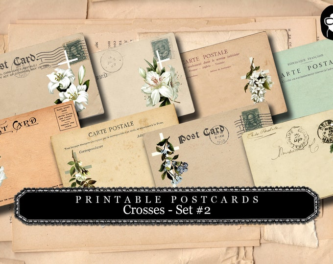 Illustrated Faith - PostCards - Vintage Crosses #1- 2 Pg Instant Download - scripture art, printable verses, worship prayer journal