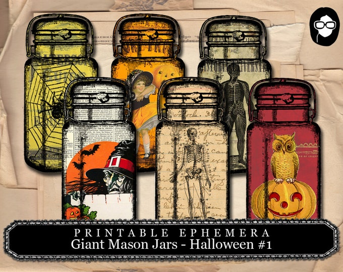Clip Art Halloween - Giant Mason Jars Halloween #1 - 2 Page Instant Download - halloween cliparts, spooky digital paper, journaling cards