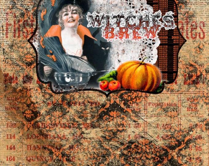 Halloween Printable -  DIY Junk journal Kit - Witches Brew - 18 Journal Pages -  vintage junk journal, halloween cliparts, clipart halloween