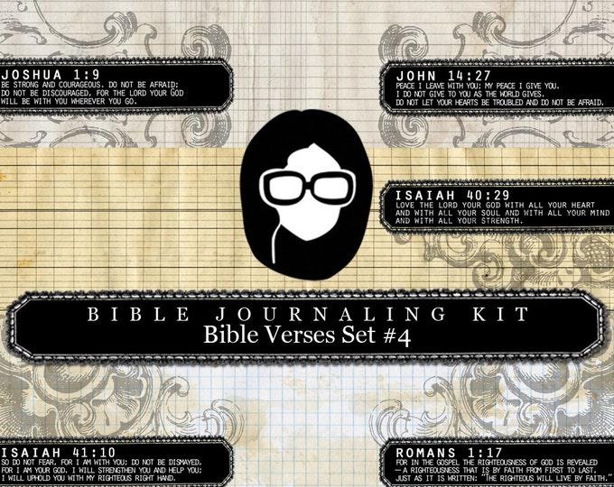 Bible Journaling Kit - Bible Verse Set #4 - 3 Pg Instant Downloads - lined journal pages, bible verses diy, prayer journaling, scripture art
