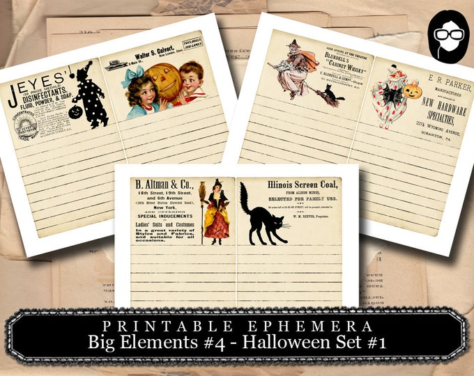 Halloween Print - Big Elements #4 Halloween Set #1 - 3 Page Instant Download - halloween cliparts, spooky digital paper, journaling cards
