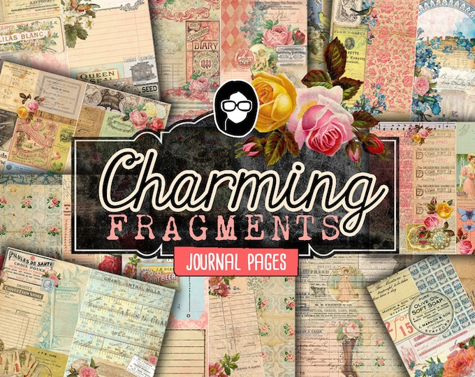 Journaling Kit - Charming Fragments - 13 Journaling Pages - art journal kit, junk journal cover, junk paper pack, digital paper pack
