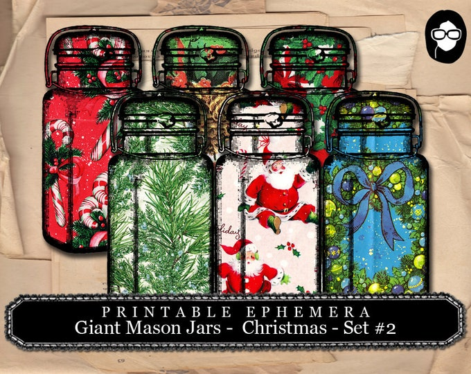 Vintage Mason Jar Printable - Giant Mason Jars Christmas # 2 - 2 Page Instant Download - christmas clip art, digital journal cards