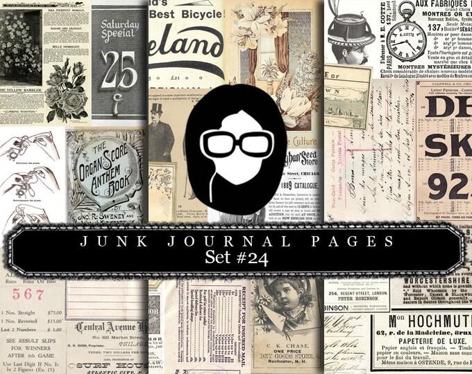 Junk Journal Pages - Set #24 - 3 Pg Instant Downloads - digital rose paper, digital roses paper, floral digital paper, digital paper pack