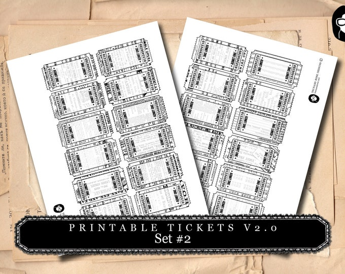 Printable Tickets V.20 - Set #2 - 2 Pg Instant Download