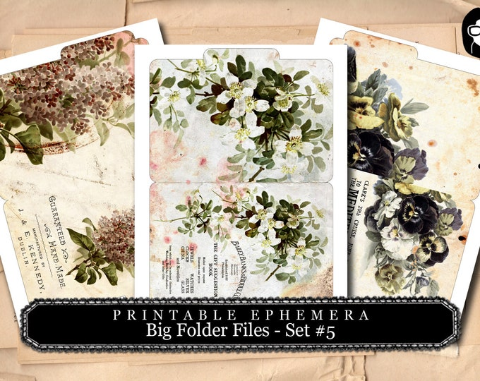 Altered Art Kit - Big Folder Files Set #5 - 3 Page Instant Download - floral clipart, smash journal kit, journaling cards, journal cards