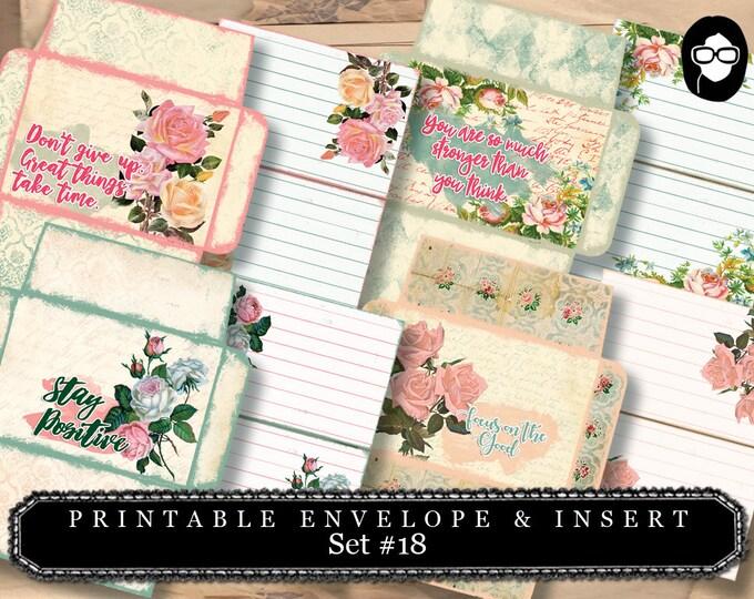 Printable Envelope & Insert Set #18 - 8 Page Instant download - envelope templates, envelope template, digital roses floral, mini envelopes