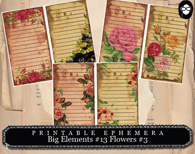 Blank Journal Cards - Big Elements #13 Flowers #3 - 3 Page Instant Download - floral clipart, journaling cards, journal card, smashbook kit