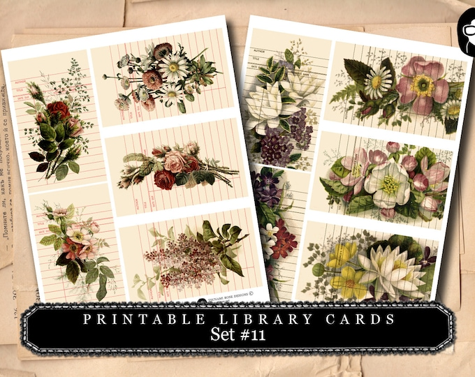Roses Clipart Floral - Library Cards 2 Set #11 - 2 Page Instant Download- paper ephemera kit, journaling cards, ephemera pack