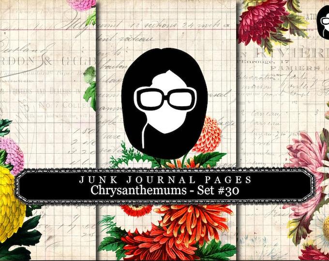 Junk Journal Pages - Chrysanthemum Set #30 - 3 Pg Instant Download, digital paper pack, digital paper packs, lined diary paper