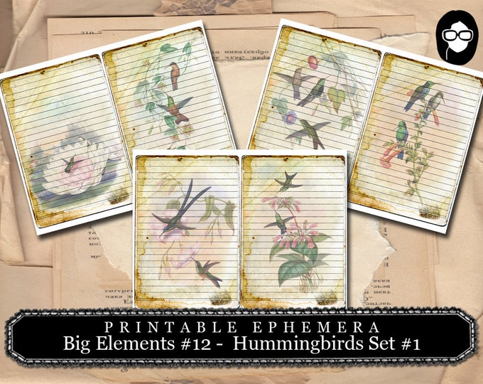 Altered Art Kit - Big Elements #12 Hummingbirds #1 - 3 Pg Instant Download - journal cards, digital journal card, floral clipart