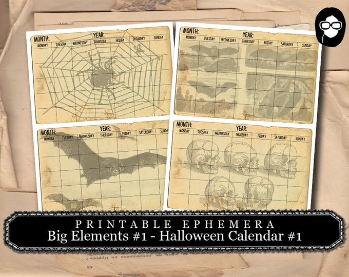 Halloween Cliparts -  Big Elements #1 Calendar #1 - 2 Page Instant Download -  spooky digital paper, journaling cards, clip art halloween