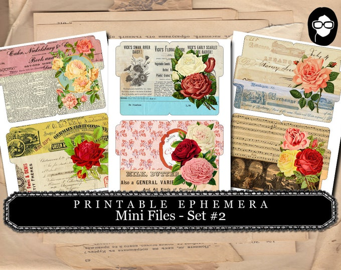 Bouquet Clipart - Mini Files Set #2 - 3 Page Instant Download - ephemera pack, altered art kit, junk journal kit, blank journal cards