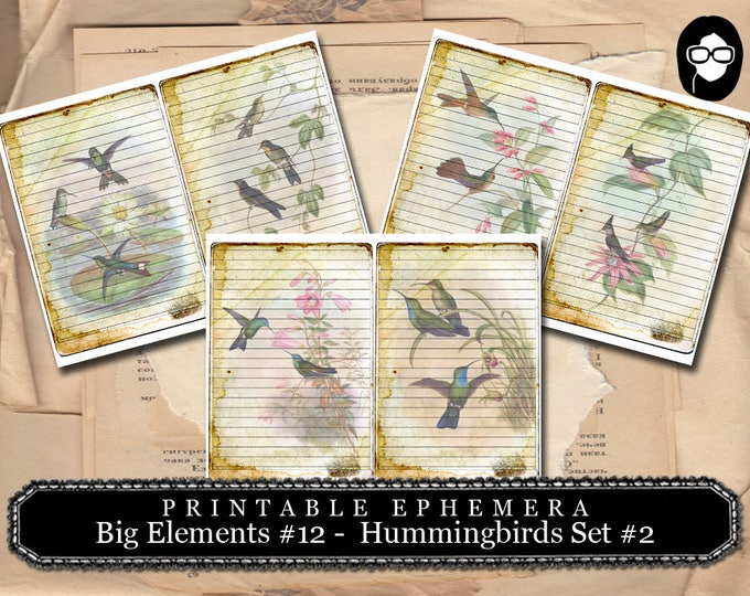 Journaling Cards - Big Elements #12 Hummingbirds #2 - 3 Page Instant Download - digital journal card, ephemera pack, gift tags template