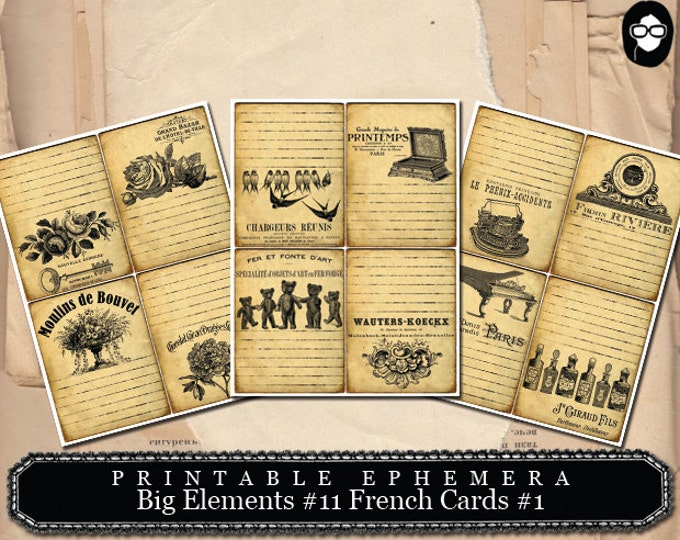 Ephemera Kit - Big Elements #11 French Cards #1 - 3 Page Instant Download- ephemera paper pack, journaling kit, art journal card, note cards