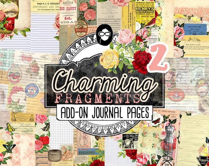 Junk Journal Ephemera - Charming Fragments P2 - 10 Instant Download Pages - junk journal supply, printable journal kit, ephemera kit, roses