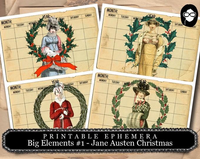 Jane Austen Christmas -  Big Elements #1 Calendar  - 2 Pg Instant Downloads -  sense and sensibility pride and prejudice, jane austen quote