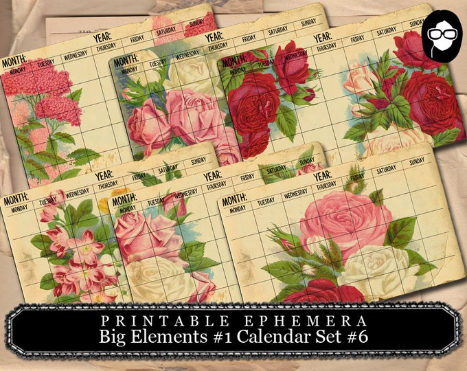 Printable Calendars - Big Elements #1 Calendar #6 - 3Page Instant Download - blank journal cards, digital journal kits, roses clipart floral