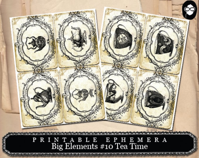Ephemera Kit - Big Elements #10 Tea time - 2 Page Instant Download - journaling cards, journal cards, digital journal card, ephemera pack