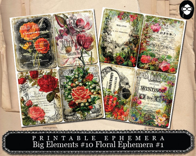 Blank Journal Cards- Big Elements #10 Floral Ephemera - 2 Page Instant Download - digital journal kits, roses clipart floral, ephemera kit