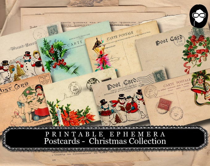 Vintage Christmas Postcards - Christmas Set # 1 - 2 Page Instant Download - christmas clip art, digital journal cards
