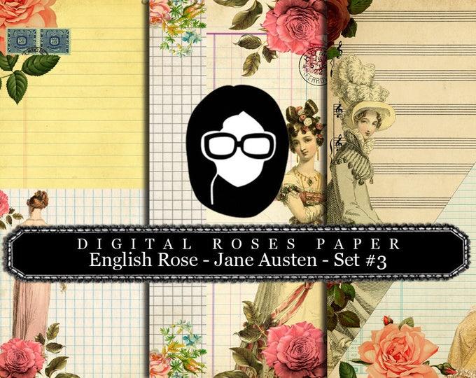 Jane Austen Print - English Rose - Digital Roses Paper - Set #3 - 3 Pg Instant Downloads -  pride and prejudice, jane austen quote, regency