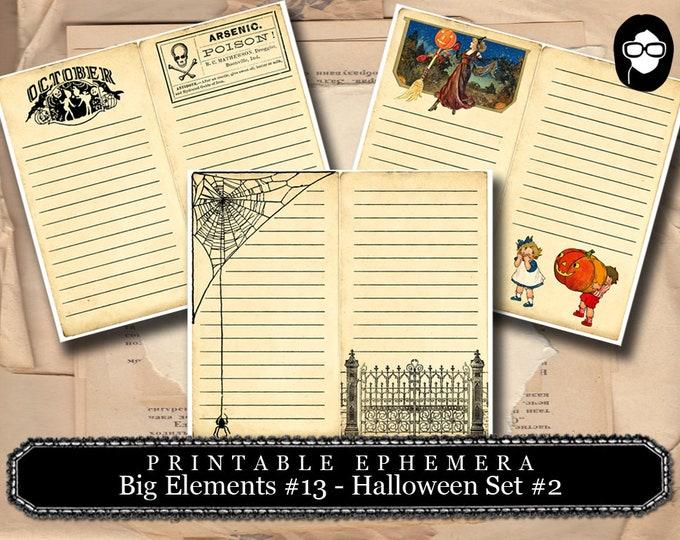 Clip Art Halloween - Big Elements #13 Halloween Set #2 - 2 Pg Instant Download - halloween cliparts, spooky digital paper, journaling cards