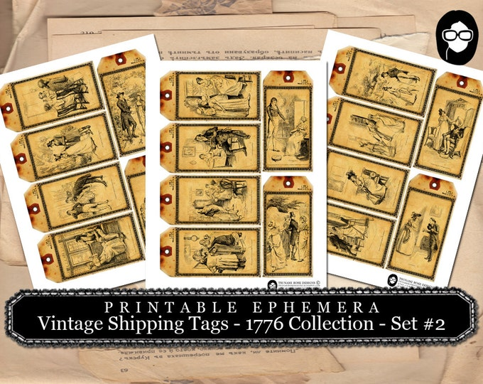 Jane Austen Print - Vintage Shipping Tag - 1776 Collection - Set #2 - 3 Page Instant Download - pride and prejudice, mixed media kit