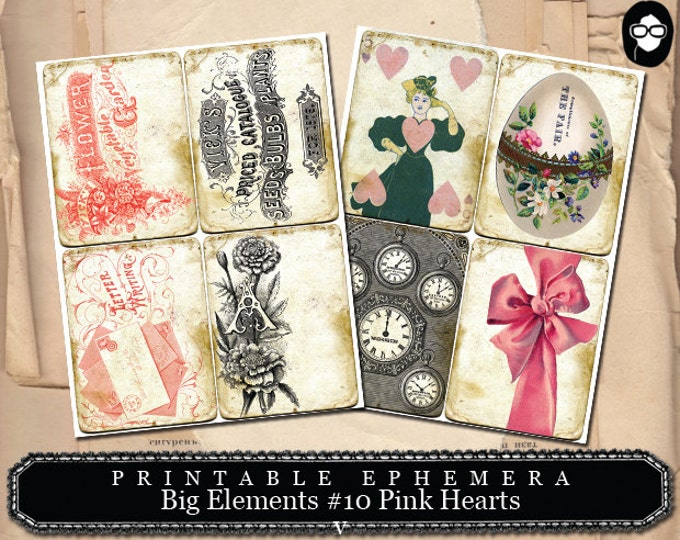 Smashbook Supplies - Big Elements # 10 Pink Hearts - 2 Page Instant Download - floral clipart, smash journal kit, journaling cards