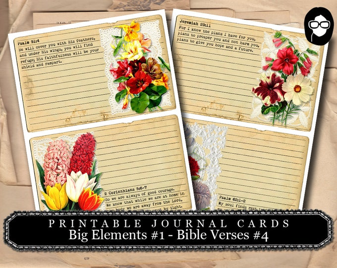 Printable Verses - Big Elements #1 - Bible Verses #4 - 2  Page Instant Download - bible verses diy, prayer journaling, scripture printable